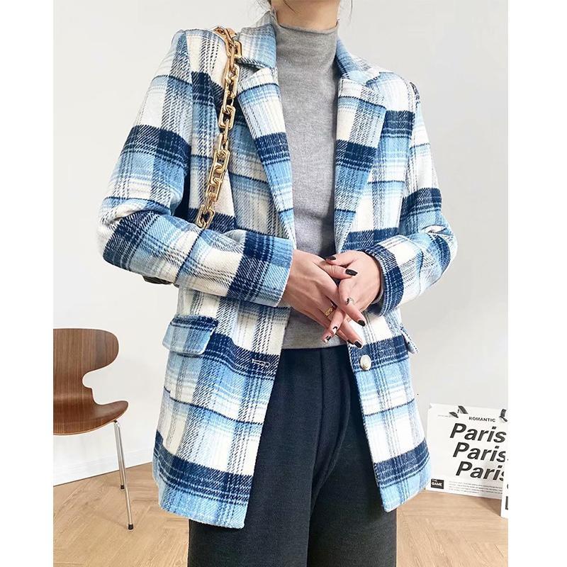 2021 Yeni Sonbahar Kadın Ekose Ceket Klasik Ceket Rahat Yüksek Kalite Sıcak Turn Aşağı Yaka Palto Moda Uzun Kollu Coat Widr