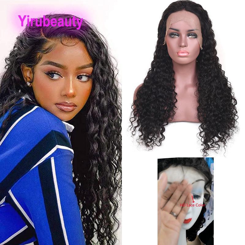 150٪ الكثافة HD 13 * 4 الدانتيل الجبهة الباروكة الماليزية العذراء الشعر البشري 10-38 بوصة الجسم موجة المياه مستقيم غريب مجعد yirubeauty