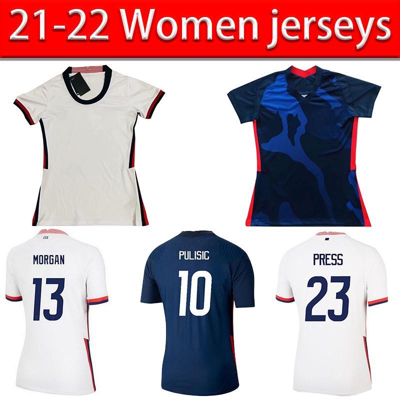 الولايات المتحدة الأمريكية لكرة القدم الفانيلة 2021 مكيني رينا بوليسيك كرة القدم جيرسي يللين بروكس DIST موحد الفريق الوطني أمريكا مورغان قمصان النساء