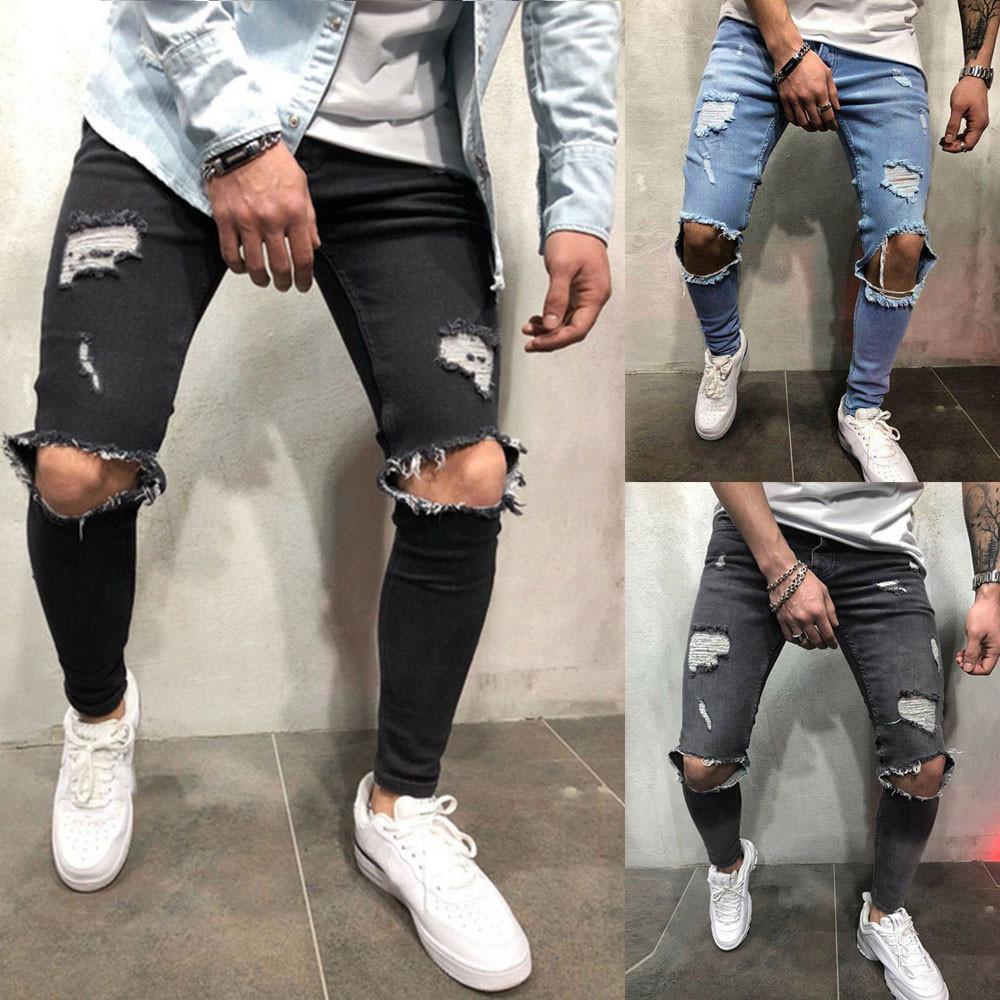 High Quality Stretch Men Knee Ripped Ny Jeans Urban Clothing Punk Korean Blue Black Denim Designer Distressed Joggers Pants
