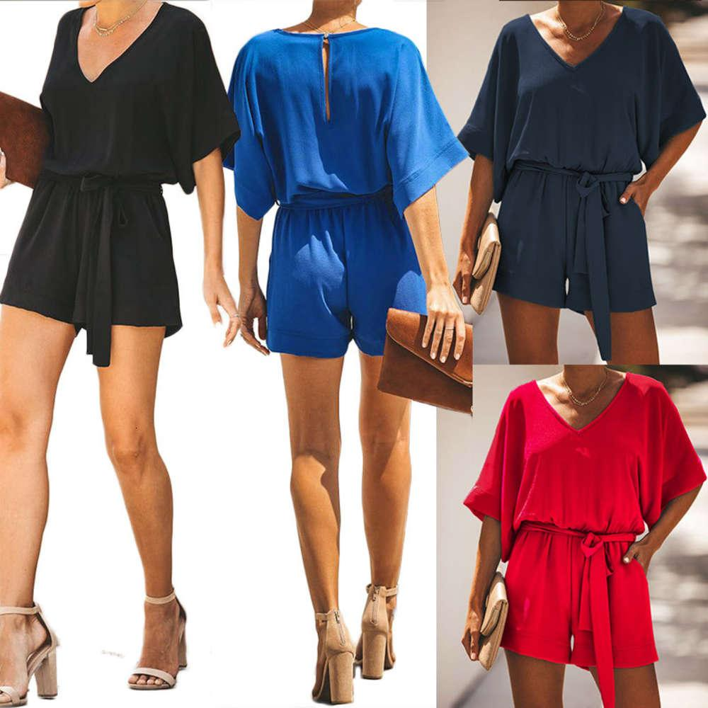 Лучшие продажи темперамент женские моды сплошной красный ремень V-образным вырезом с коротким рукавом в 2019 году