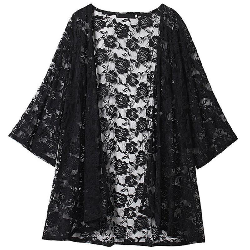 Cardigan Kimono élégant Kimono Cardigan T-shirt de dentelle femme brodée Beach Vêtements Vêtements Cardigan Plus Taille Blouse Femmes