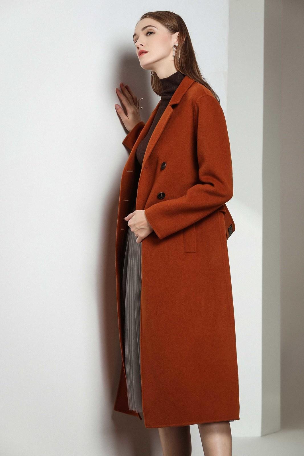 2021 Новая Англия Стиль Двухбордовые пальто шерстяные смесиные женщины элегантные винтажные длинные тонкие пальто на щель поровки 287i