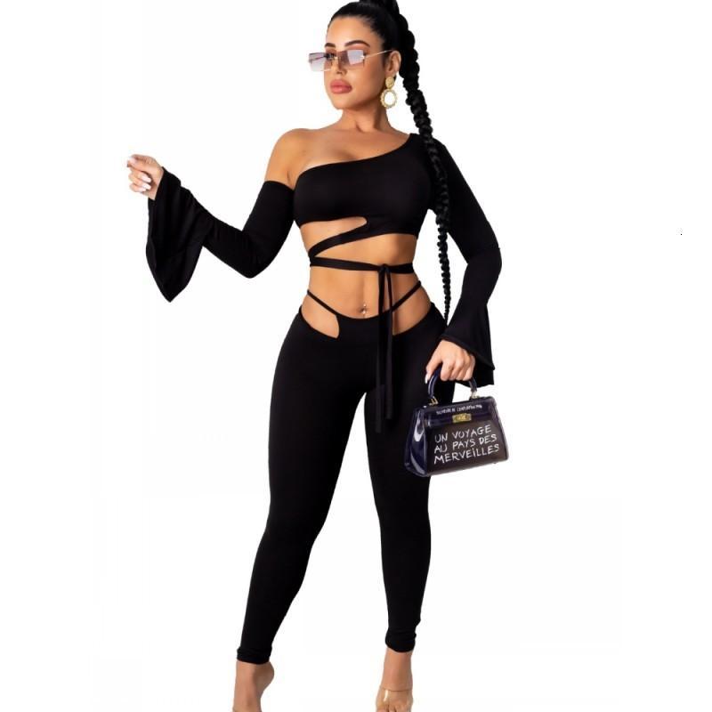 OCO sur l'épaule Ensemble de deux pièces Élargissement des femmes à lacets à la récolte Hauts et pantalons tendres 2021 Nouveaux Tenue de l'usure du club sexy HXTX