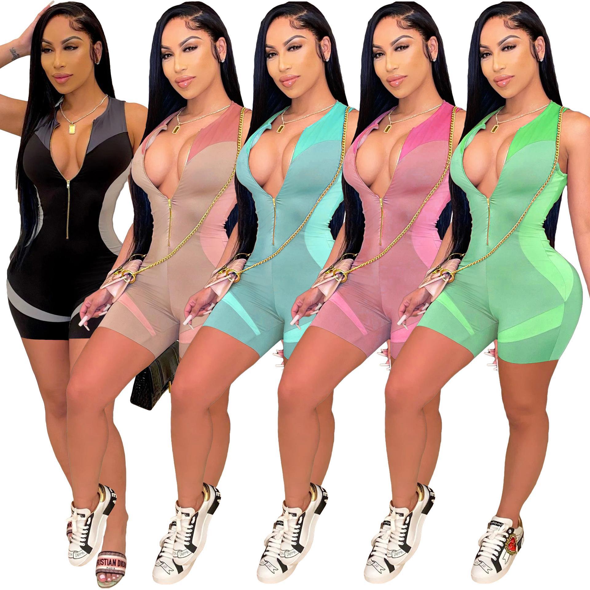 디자이너 여성 2021 패션 Jumpsuits 슬림 프린트 민소매 원피스 반바지 V-neck 섹시한 클럽 착용 Rompers DHL