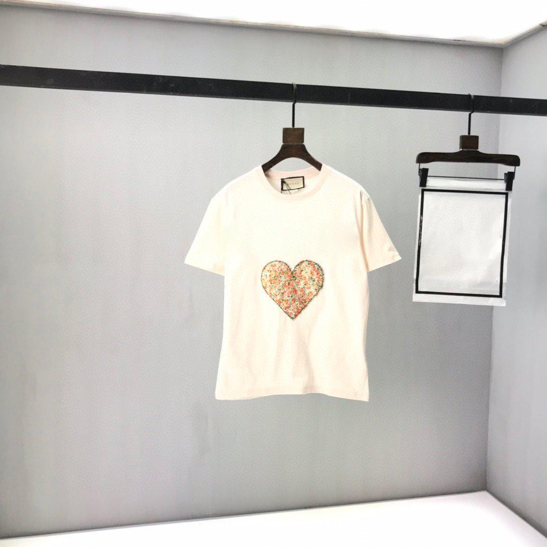 2021 Avrupa ve İtalya son moda aşk sarhoş çiçek mektup baskı tüm maç kadın t-shirt rahat gevşek spor stil erkek beyaz tees