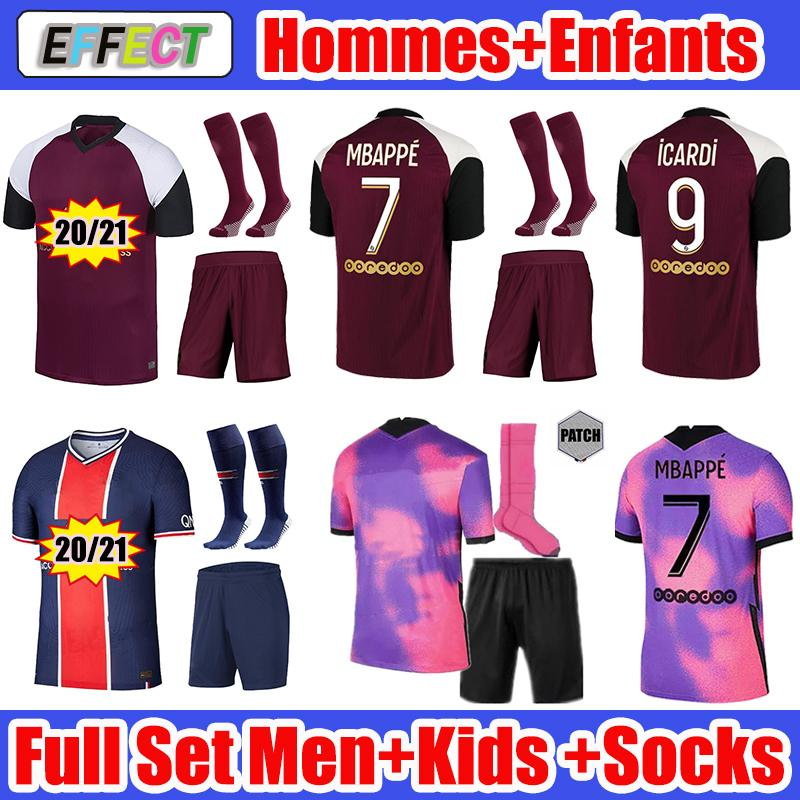 2020 2021 MBAPPE ICARDI قمصان كرة القدم 20 21 MAILLOTS DE FOOT Paris  Kids Kit SETS enfants Socks