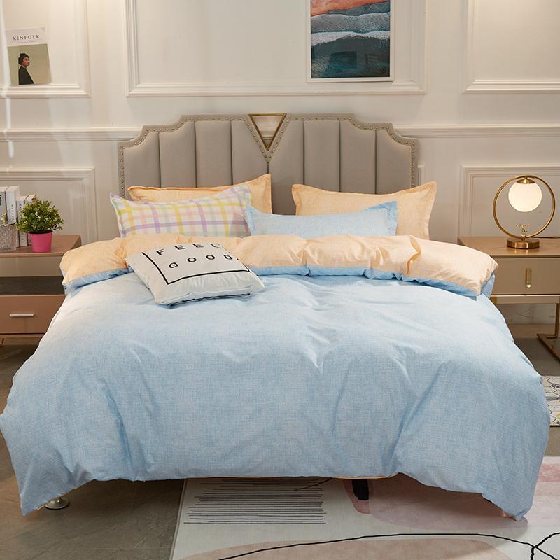 Bedding Sets AB Side Blue + Light Orange Polyester Pillowcase & Duvet Cover Set Single Full Queen Family Size