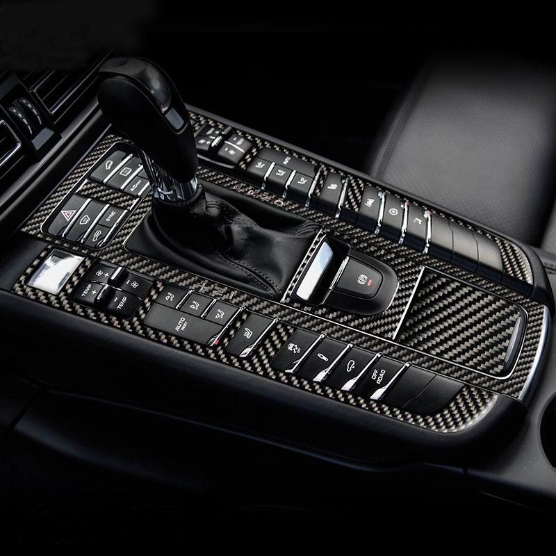 자동차 인테리어 장식 몰딩 탄소 섬유 중앙 기어 패널 제어 패널 데칼 스티커 포르쉐 마칸 자동차 스타일링을위한 액세서리