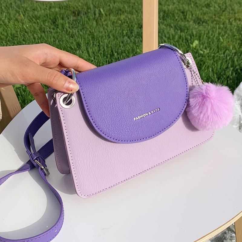2020 Women's Contrasting Color Square Bag Fashion Shoulder Bag Small Messenger Bag New Pu Leather Quality Trend Handbag Wallet C0315