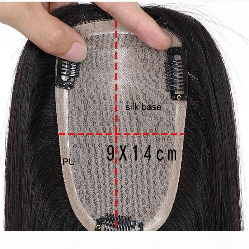 9*14cm Human Hair Topper Straight Brazilian Virgin Hair Clip In Silk Base Toupee For Women Natural Color Hairpiece