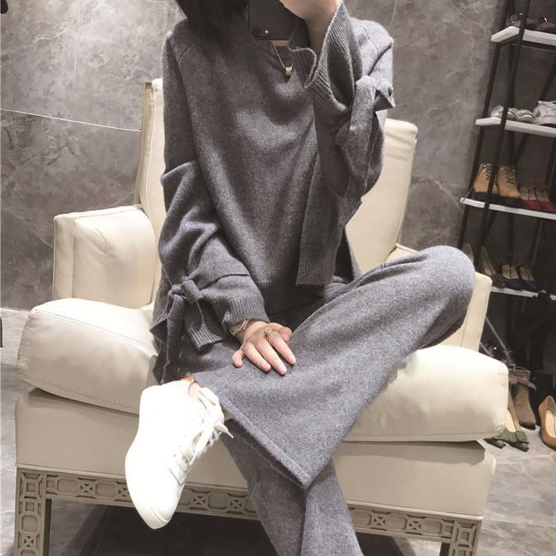 Kadınların Topluluğu Moda Mizaç Örme Suit Gecelik Geniş Bacaklı Pantolon İki Adet MPB2 Set