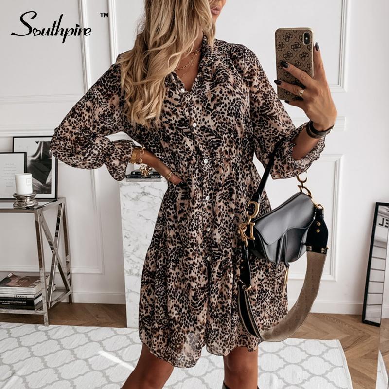 Повседневные платья Southpire женская одежда леопардовый принт винтаж платье передняя кнопка шифон рубашка простые ежедневные Vestidos женский 2021