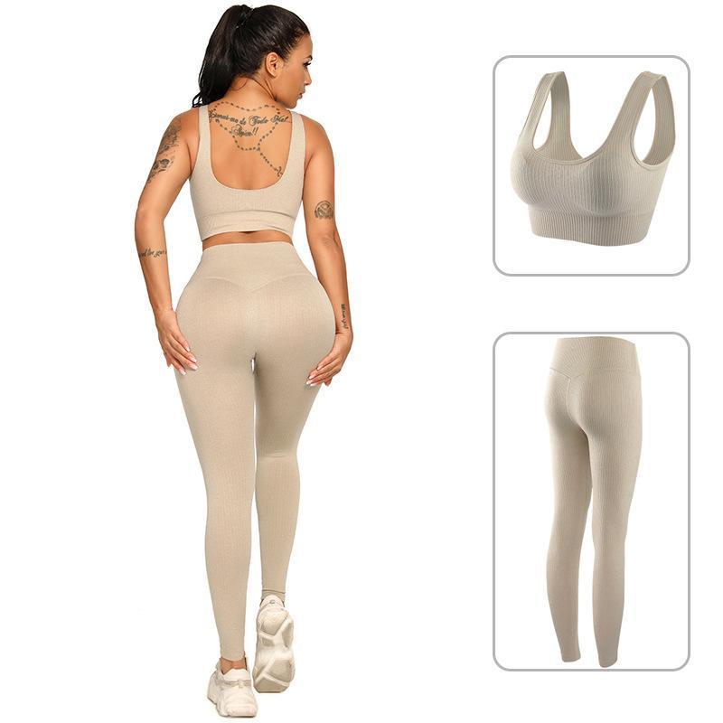 2pcs femmes sans soudure yoga ensemble sport costume de sport gymwear entraînement vêtements manches longues gym culture haut de gamme LEGGING LEGGINGS Fitness Sports usure