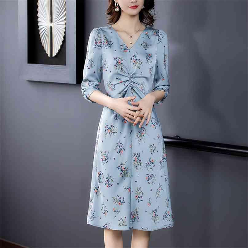 Elegante blaue Blumenmulberry Seide Casual Midi Kleider Frühling plus Größe Half Slevee Vintage Sommerkleid Bodycon Party Vestidos 210603