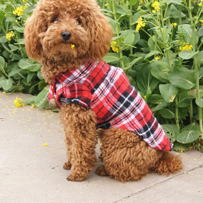 Hundebekleidung Haustier karierter Hemd Sommerkleidung Hunde Nette Kleidung