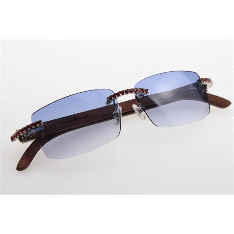 21S GRATIS NUEVO ENVÍO 3524012 Gafas de sol sin montura de diamante de madera Hombres Red Stone Unisex Wooen Glasses Lente azul al aire libre Conducir Ienbel Null