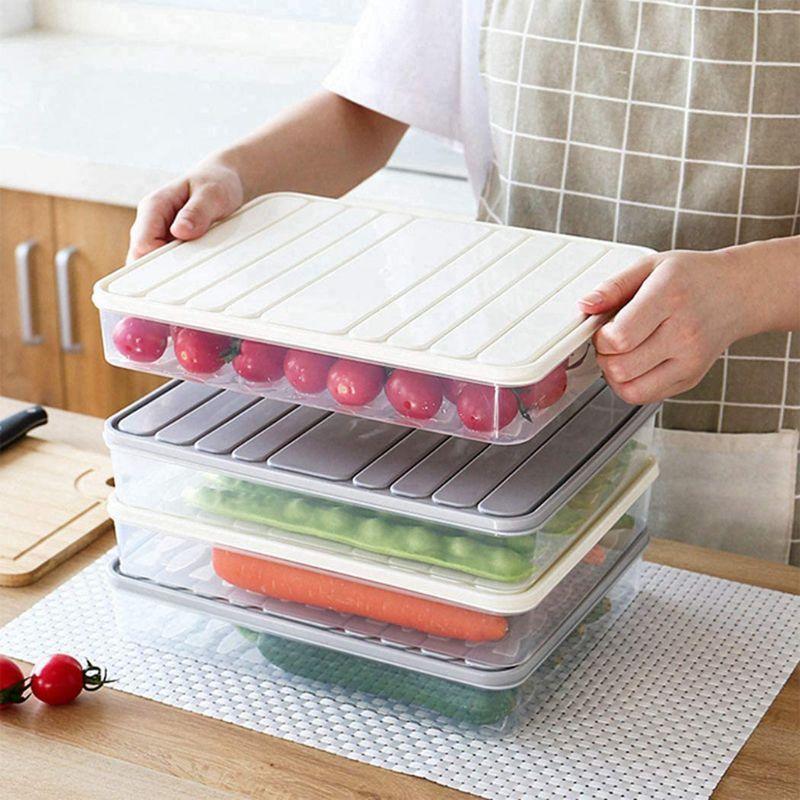 2 pcs único camada de armazenamento de geladeira recipiente caixa de plástico bolinhos herméticos Organizer Home Organizer grãos de grãos Box Cozinha Org