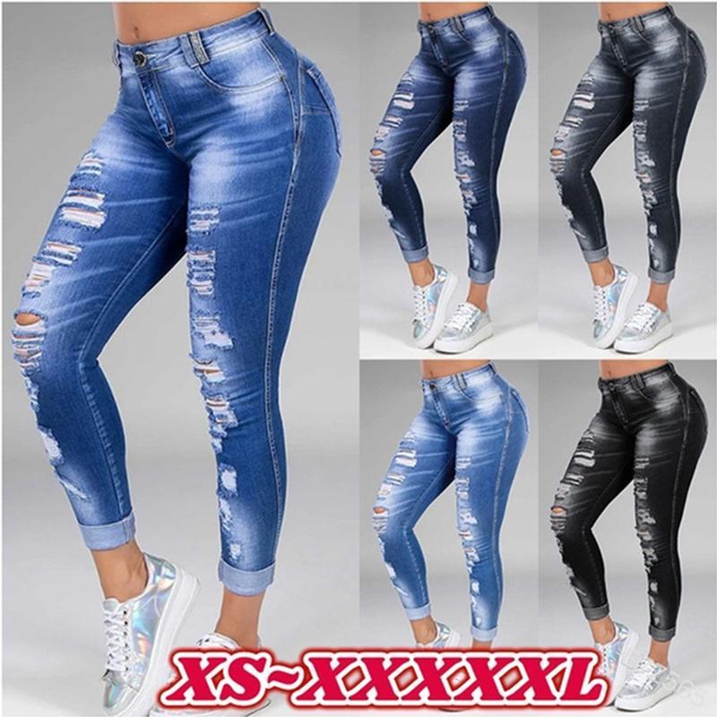 Kadın Pantolon Capris Kot Kadın Yüksek Bel Seksi Yırtık Strech Moda Streetwear Sıkıntılı Ince Mavi Denim Kadın Pantolon Artı Boyutu 6XL