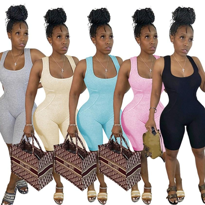 Summer clothes Women Jumpsuits fashion shorts Rompers skinny vest bodysuits Casual tank top Overalls sexy leggings DHL shipping 4579