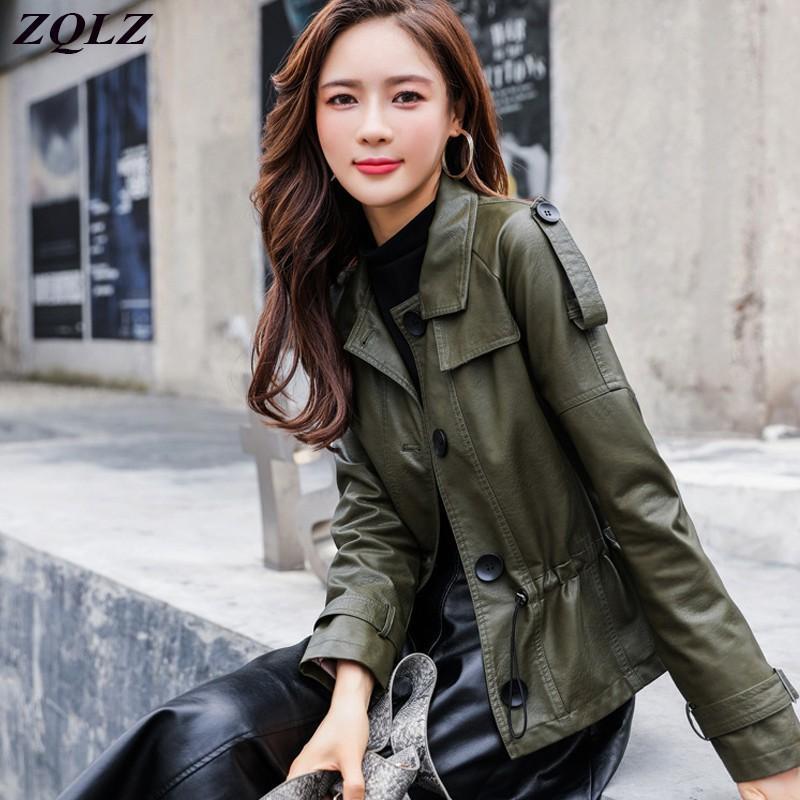 Женская кожаная Faux ZQLZ плюс размер 5XL куртка женская 2021 повседневная свободная черная короткая пальто моды одиночный погружной PU пальто