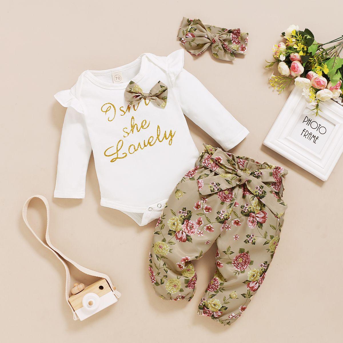 Neue Baby Mädchen Oansatz Drucken Freizeitkleidung Sets Mädchen Langarm T-shirts Kinder Tops Hosen Stirnband Set Kind 3pcs / Set Outfits