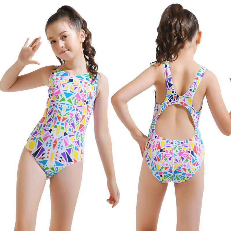 Kids Professional Swimsuit Girls Swimwear One Piece Athletic Training Swimsuit Girl Sports Bodysuit Swimming Suit Q0220