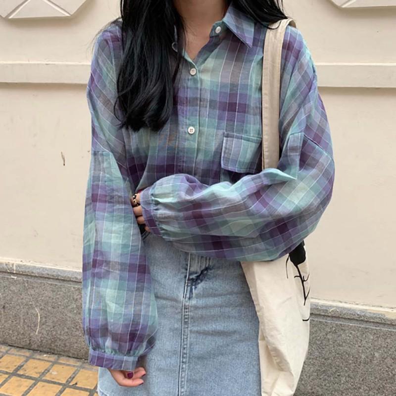 Женщины Винтажные клетчатые рубашки Мода женский большой карманный воротник поворотный воротник с длинным рукавом женщины повседневные свободные блузки Bluss