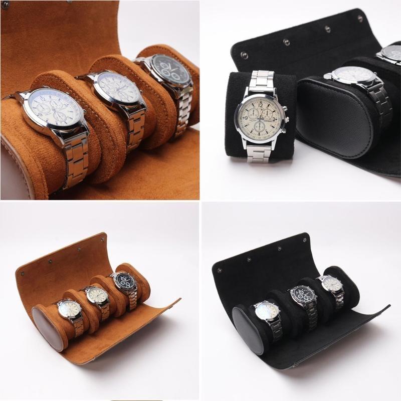3 slot watch roll rotolo custodia da viaggio in pelle portatile orologio in pelle stoccaggio scivoloso in uscita
