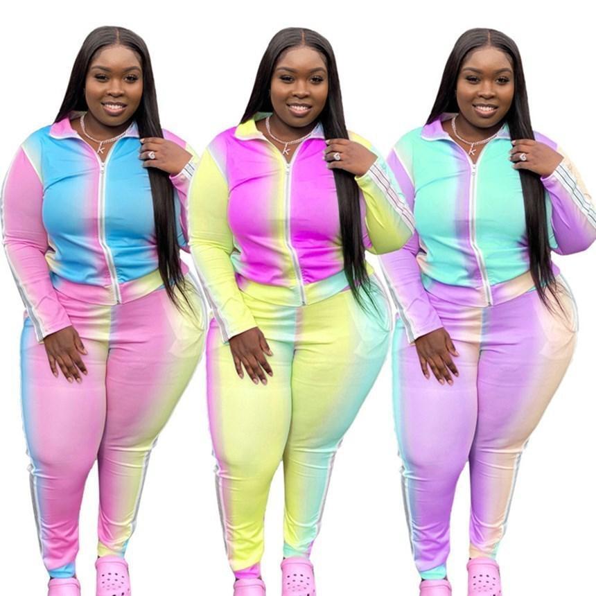 Frauen Plus Size Sweatsuit L-5XL Casual 2 Stück Set Langarm Jacke + Leggings Designer Outfits Herbst Winterkleidung Gardient Jogger Anzug