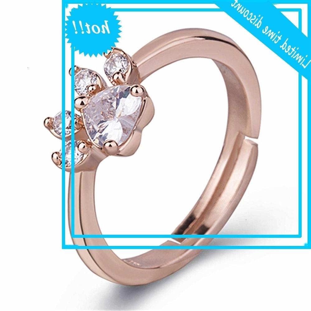 Caibao Diamond Lovely Hand Decoration Rose Gold Huellas de zircon Anillo