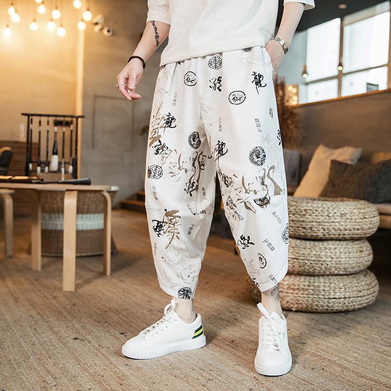 Pantalones para hombres 2021 VERANO Impreso de algodón Harem Hombres Casual Hip Hop Pantalones cruzados Cruz Bloomers Longitud de la pantorrilla Joggers Streetwear