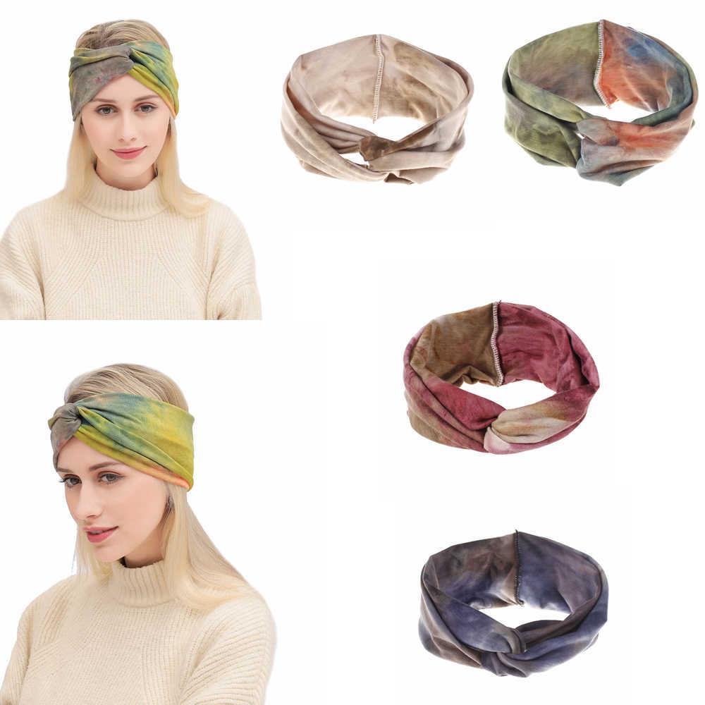 4styles tie-boya yıkanmış renkli hairband kızlar bohemian bükülmüş bandaj düğümlü türban headwrap plaj vintage spor kafa bandı FFA2395-2