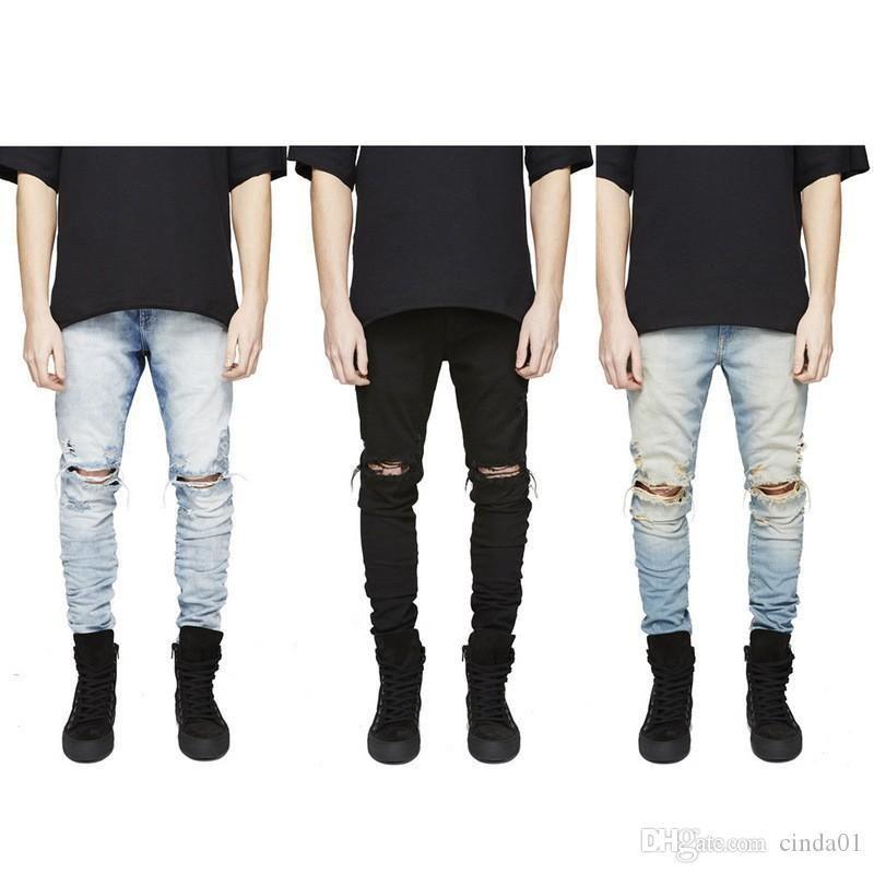 Slim Fit Разорванные джинсы Мужчины Hi-Street Мужская Чужие Джинсовые щипцы Коленые отверстия вымытые разрушенные джинсы плюс