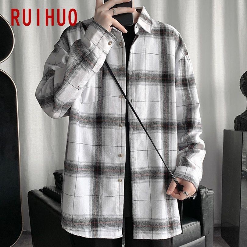 Рубашки клетки Ruihuo для мужчин одежда 2021 мода с длинным рукавом клетчатая рубашка мужчины Harajuku мужские рубашки повседневные Slim Fit M-5XL 210316
