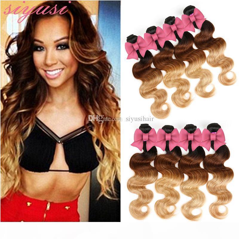 Paquete de pelo peruano 1b 27 1b Red 1b 30 Rubia Human Hair Weave Dos tonos Tejidos Oscuro Roots Onda de onda del cuerpo tejidos