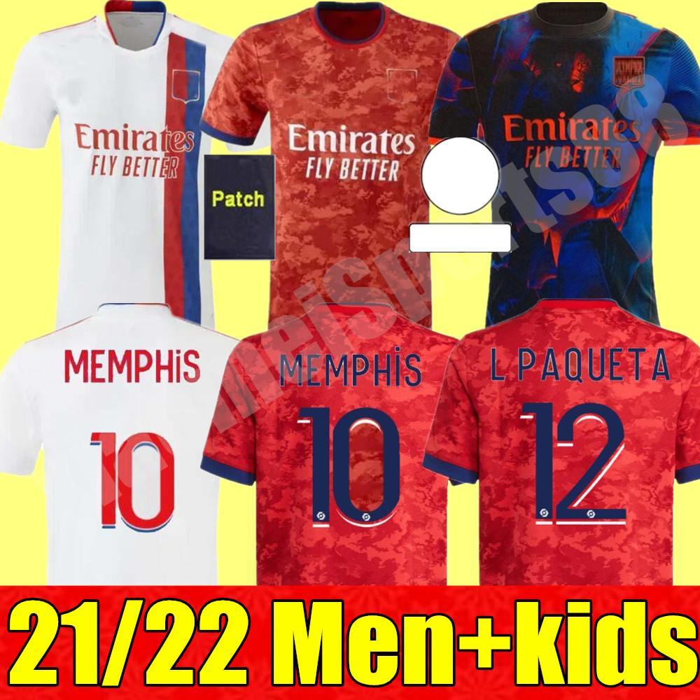 Männer + Kinder Kit 21 22 Olympique Lyonnais Fußball-Trikots Auar Denbele Ferkir 2021 2022 Lyon MAILLOT DE FUCE TRAORE MEMPHIS KIND FOOTEL SHIR