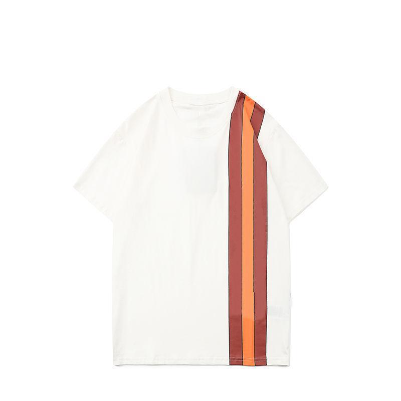 Мода мужские футболки буквы нашивки стилист футболки 2021 высокое качество мужчин женщин пара с коротким рукавом тройник