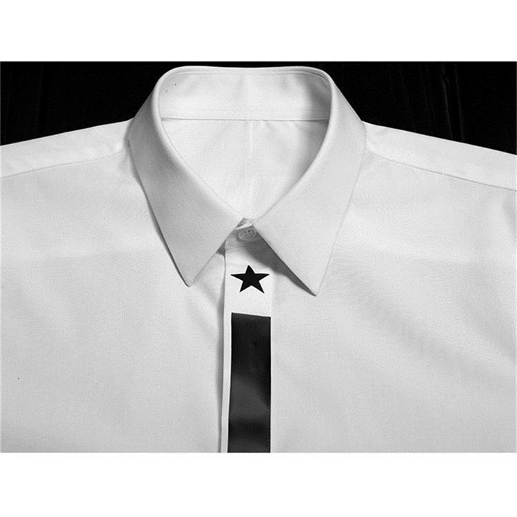 Camicia da uomo in giuria Star Star Stampato Camicia da uomo Casual Collar Camisa Masculina Manica lunga Slim Mens Dress Shirts