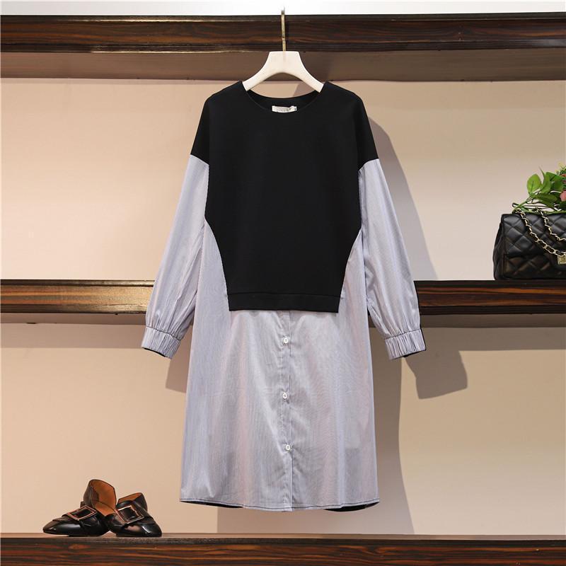 Günlük Elbiseler JSXDHK Boy Gevşek Bahar Elbise 2021 Moda Çizgili Patchwork Siyah Uzun Kollu Kadın Artı Boyutu O Boyun Diz