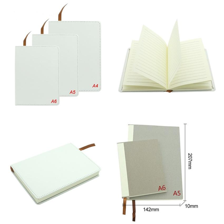 Wholesale! Sublimation Notebook With Inner Core A4 A5 A6 DIY Blank Notebook Customized Faux Leather Notebooks Heat Transfer Printing A12