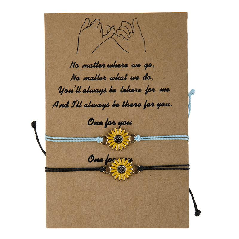 2pcs/set Wish Card Rope Bracelets For Women Couple Wax Rope Sunflower Charm Bracelet with Card Christmas Gift Jewelry Accessories