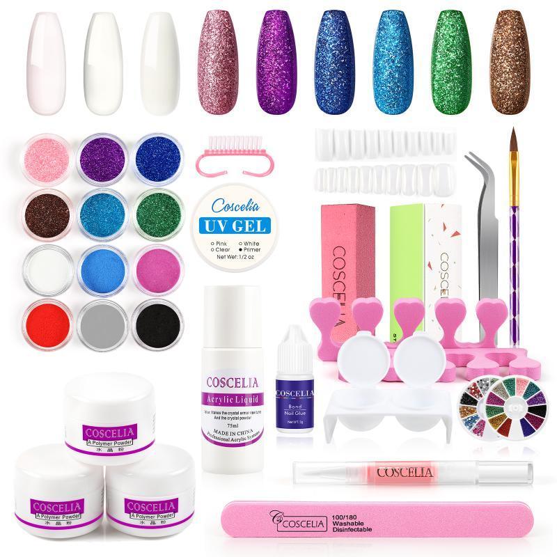 Kit per unghie acrilico con polvere acrilica Set liquido 75ml per manicure chiodo kit di arte professionale set di glitter set
