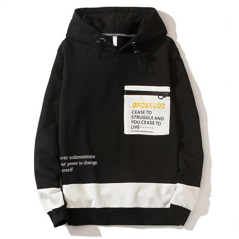 Pull à capuche à capuche de printemps et d'automne à la mode Mode tendance Homme Tops Lettre Imprimer Sweatshirt Casual Classic Slim Manteau souple 210531
