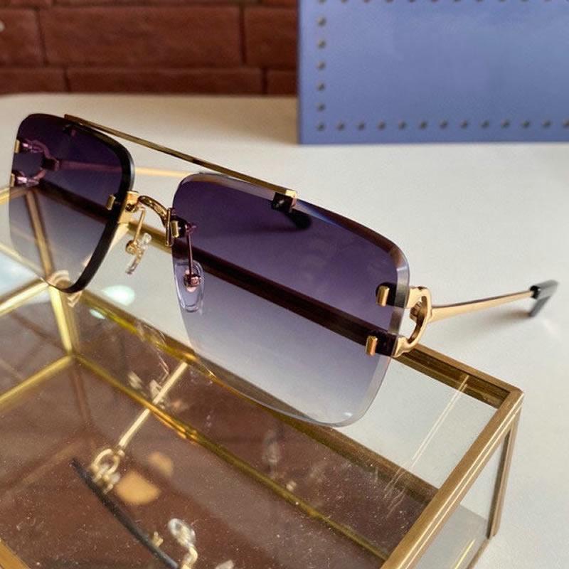 2021 남자를위한 디자이너 선글라스 여자 금속 Frameless 라운드 스퀘어 편광 안경 렌즈 레이디 소년 야외 패션 안경 케이스 상자 천으로