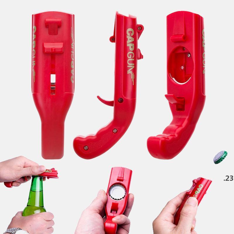 Taşınabilir Kap Silah Yaratıcı Uçan Kap Başlatıcı Şişe Bira Açacağı Bar Aracı İçecek Açılış Tabancası Şekilli Şişe Kapakları Shooter FWD4953