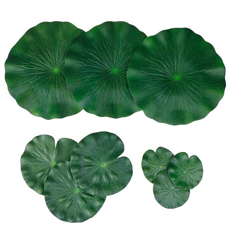 Packung mit 9 künstlichen schwimmenden Schaumstoff Lotus Blätter Water Lily Pads Ornamente grün | Perfekt für Patio KOI Fischteich Pool Aquariu