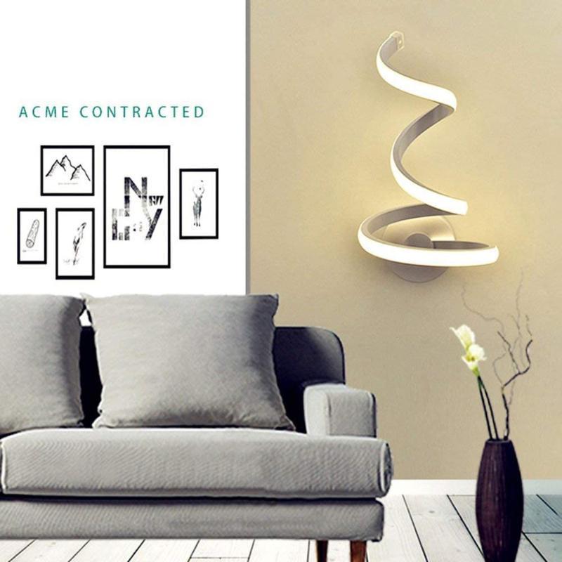1 ADET Spiral LED Duvar Işık Modern Akrilik Demir Aplikler Lambası Başucu Dekor Için Duvar Montaj TV Arka Plan Lambası Ev Oturma Odası Için