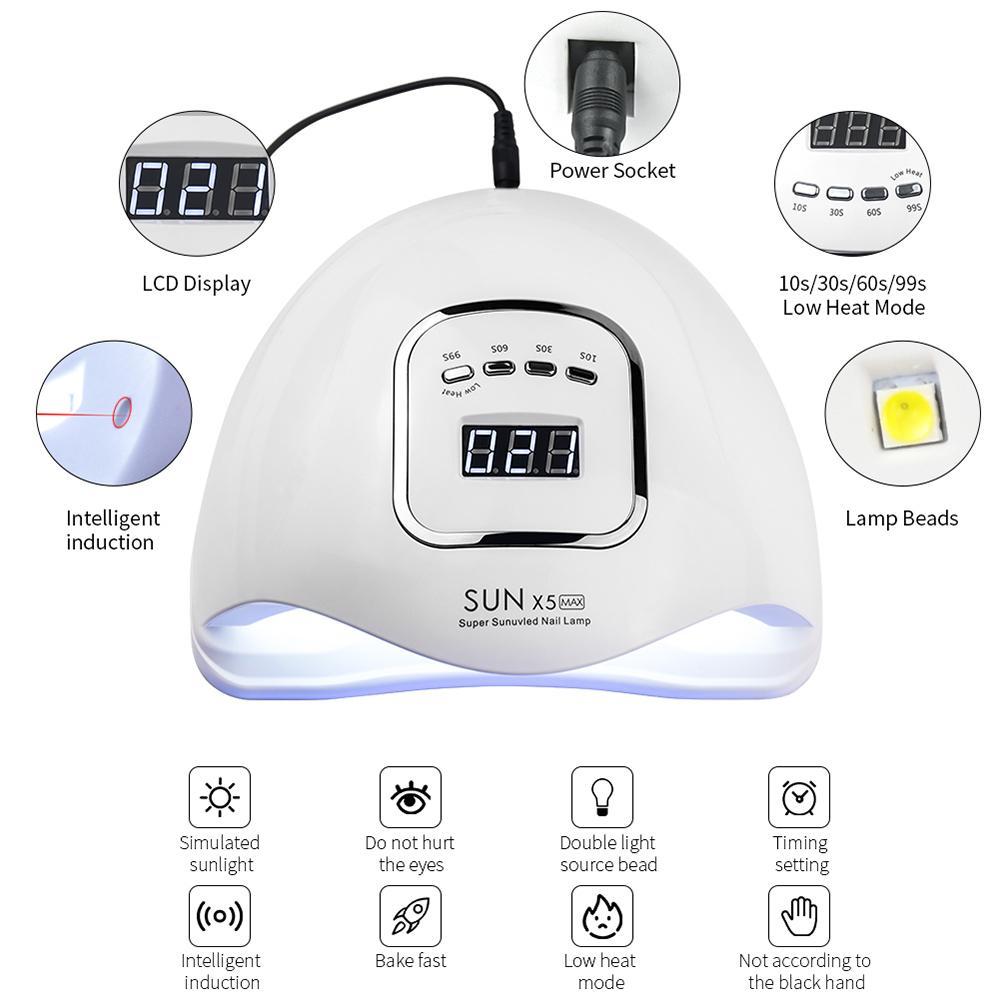 Tırnak Kurutucu SUNX 5 Maksimum 150 W 45/36 LED'ler UV LED Tırnak Lambası Güneş Işık SENSOR LCD Ekran Ile UV Jel Oje Kür Ile 201026