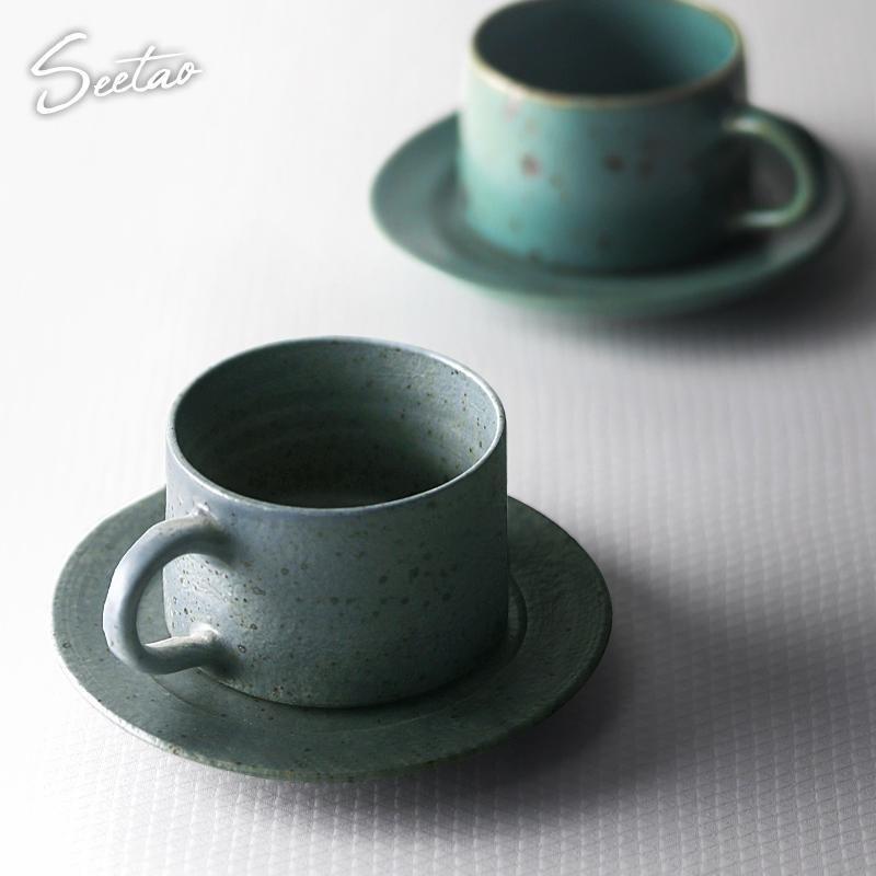 Tazze piattini italiani espresso tazza tè pomeriggio classico testurizzato in porcellana latte latte piatto cucchiaio set ceramica alta EE50BD